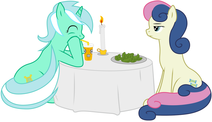 Lyra and BonBon, romantic dinner!? by boem777