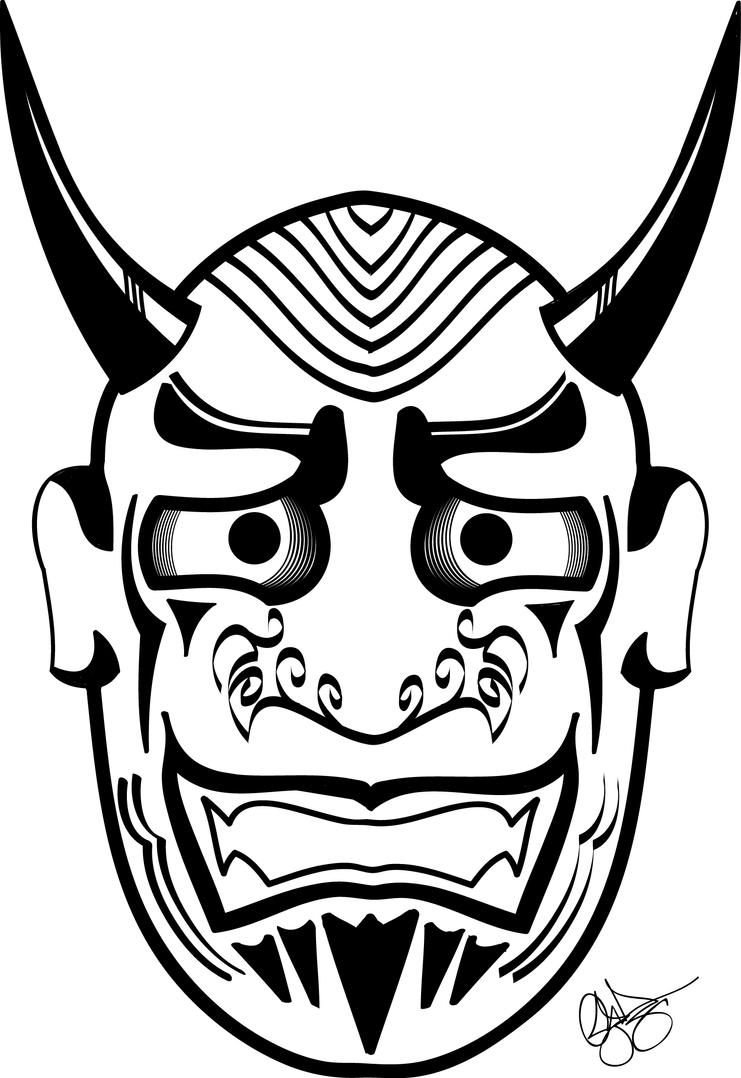 Oni noh mask by theoneoshen on deviantart for Kabuki mask template