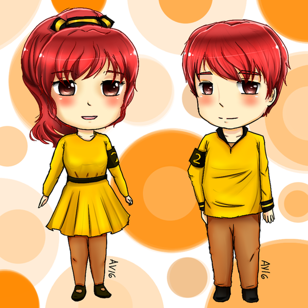 Stationary Gijinka: Pencil-kun and chan by adventvera16