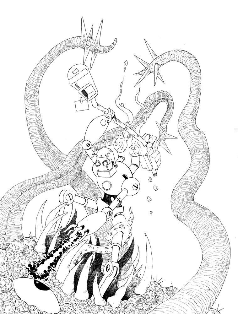 Robot Vs. Tentacle Monster by Jcoon