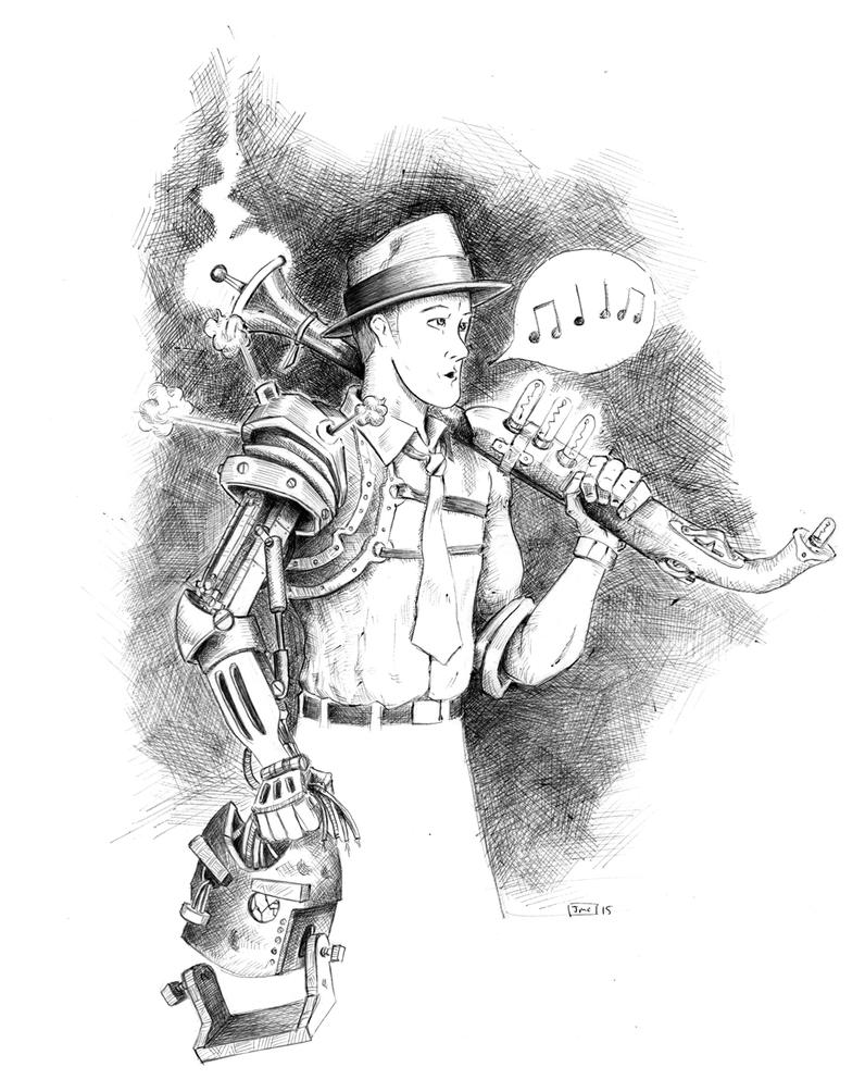 Pneumatic Detective Sketch (ball point pen) by Jcoon