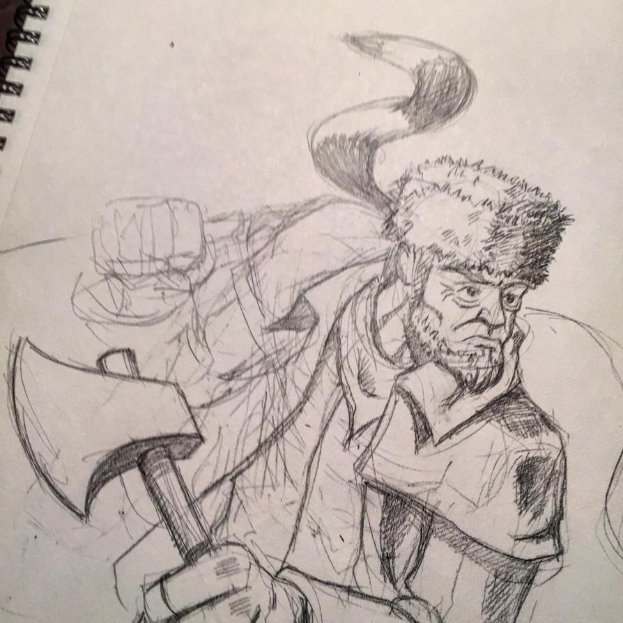 Davey Crockett Sketching by Jcoon