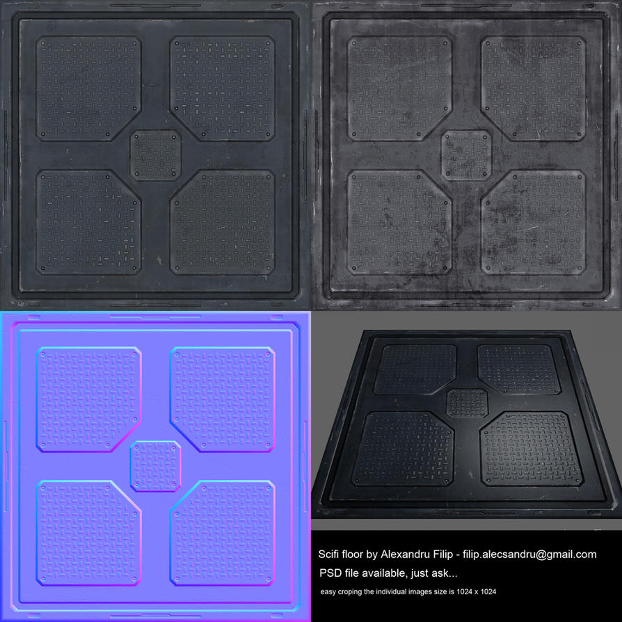 Scifi floor diffuse specular and normals by for Floor normal map