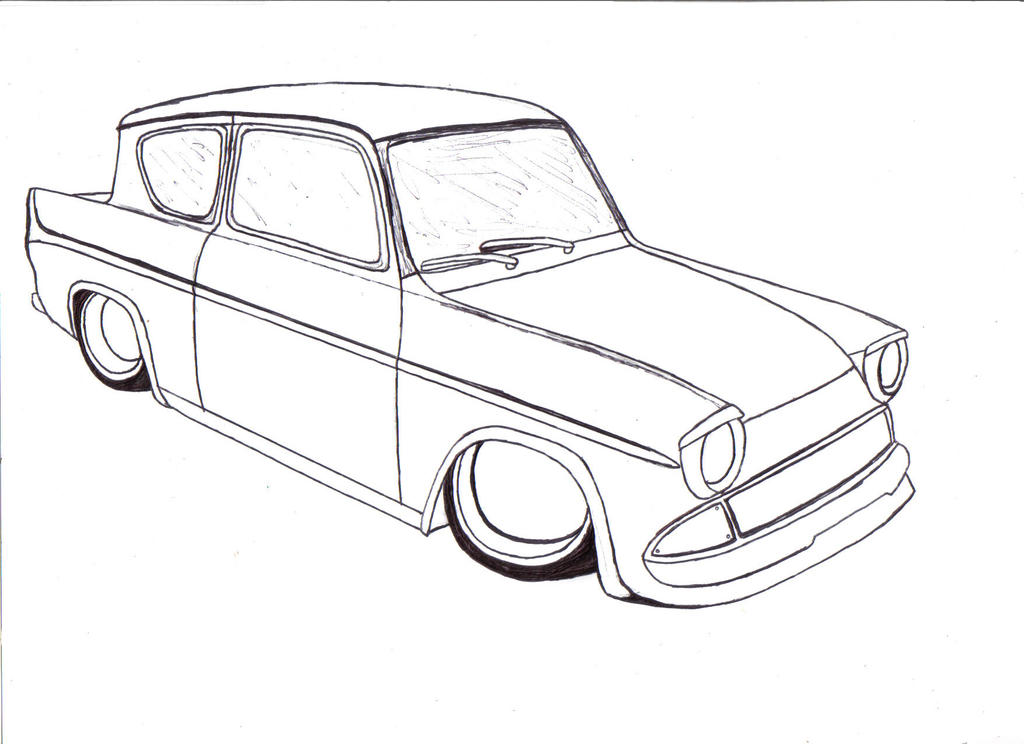Ford Anglia Line Art By Mister Lou On Deviantart