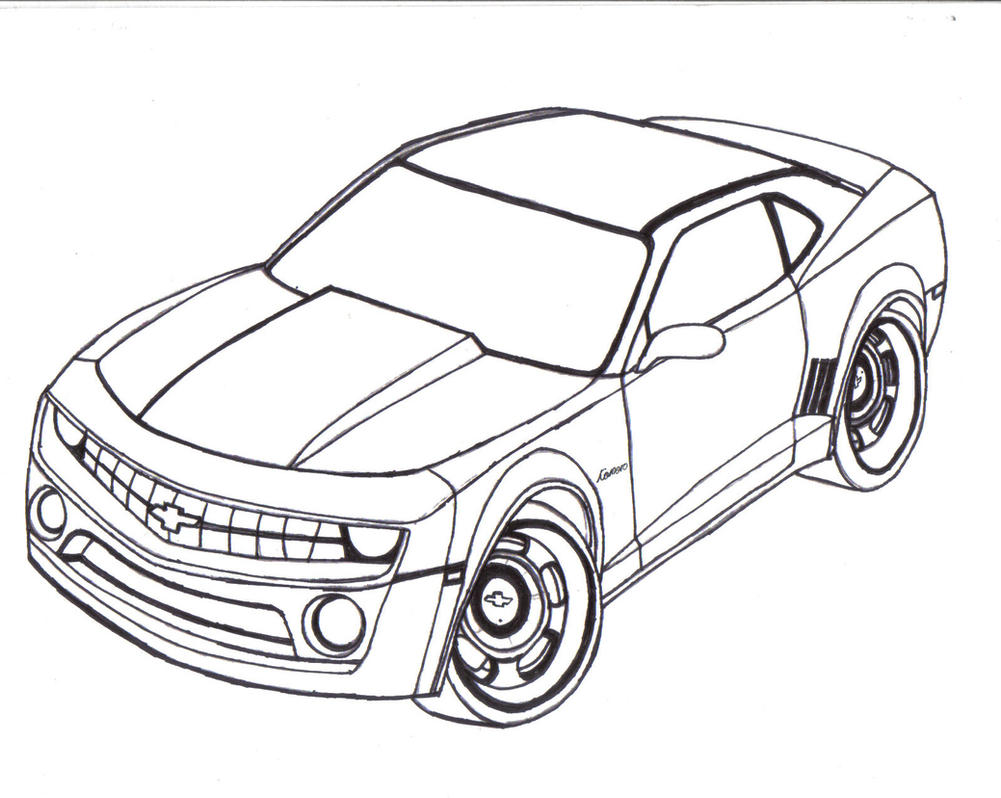 chevy camaro line art by mister