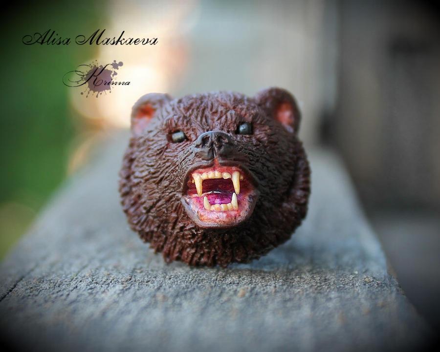 Bear polymer clay ring by Krinna