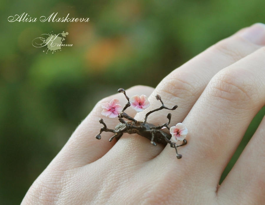 Sakura ring from polymer clay by Krinna