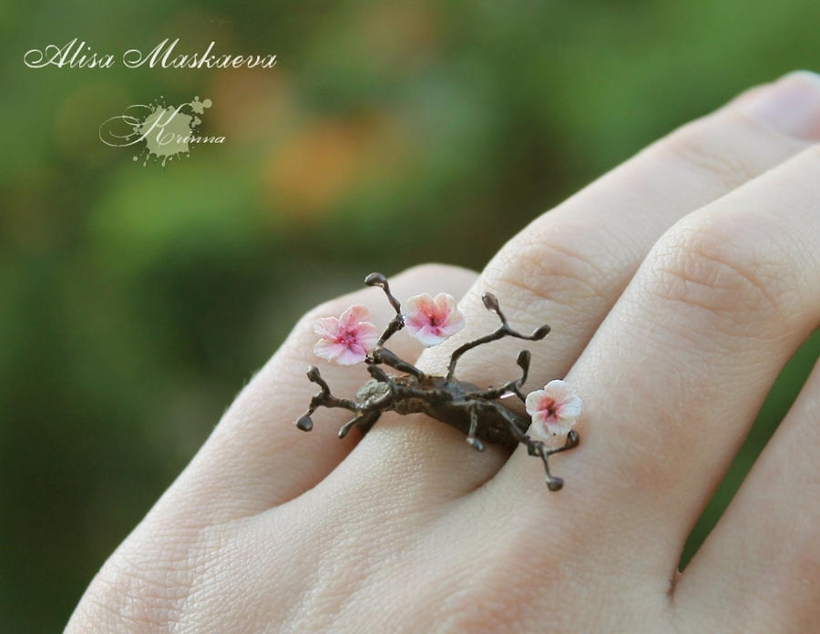 Sakura ring from polymer clay