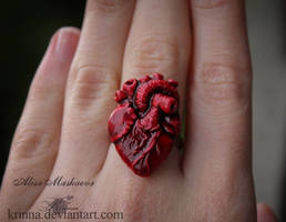 Human Heart ring from polymer clay