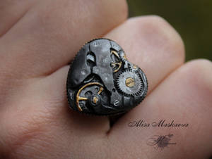 Steampunk heart ring from polymer clay