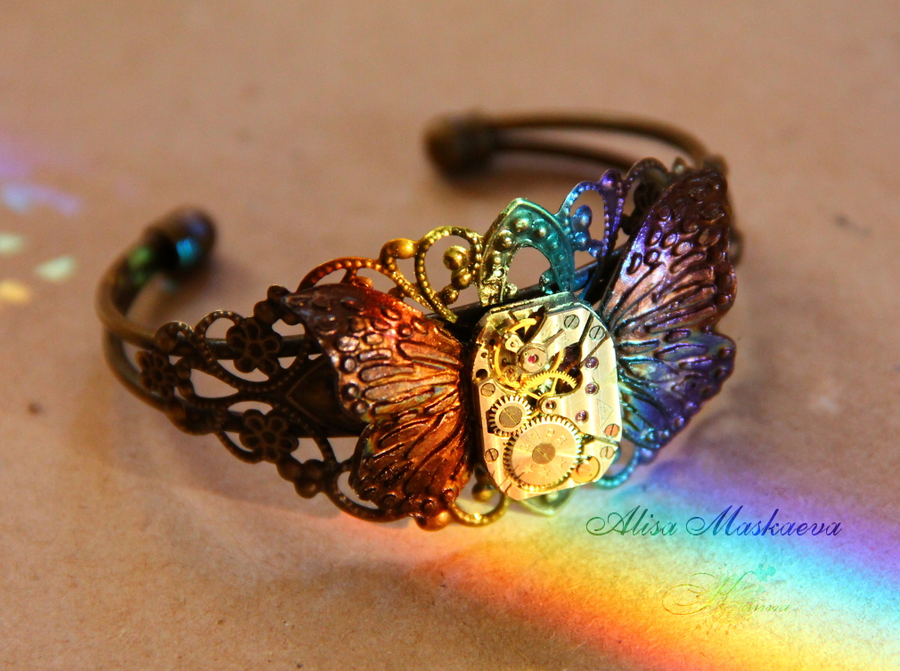 Steampunk butterfly rainbow bracelet handmade by Krinna