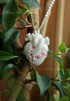 Anatomical heart with sakura flowers pendant