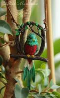 OOAK Quetzal bird pendant from polymer clay