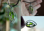Wire Wrapped emerald leaf