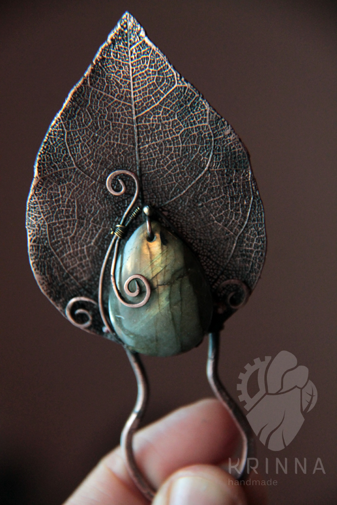 Autumn Handmade Copper Hairpin With Labradorite By Krinna On