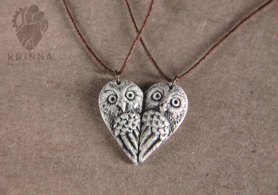 Sweet owls pair necklaces from polymer clay