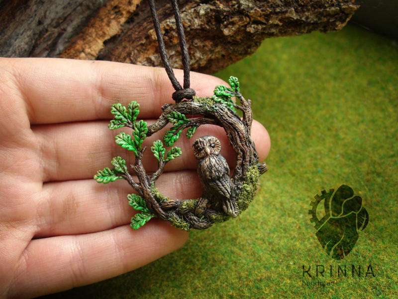 Owl in brances from polymer clay by Krinna