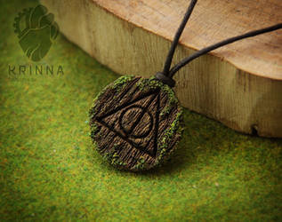 Deathly Hallows pendant from polymer clay wooden by Krinna