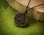 Deathly Hallows pendant from polymer clay wooden