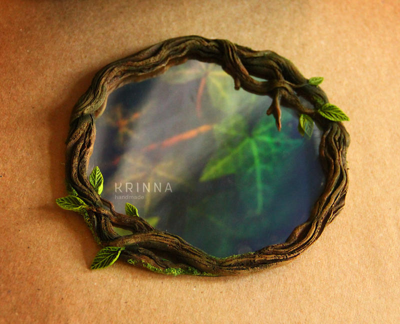 Enchanted forest mirror from polymer clay by Krinna