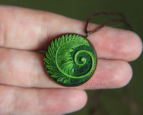 Polymer clay fern charm