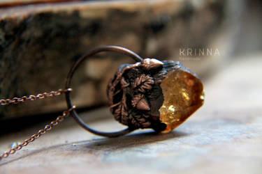 Electroformed pendant Oak Forest with citrine