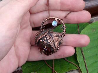 Electroformed fern citrine necklace