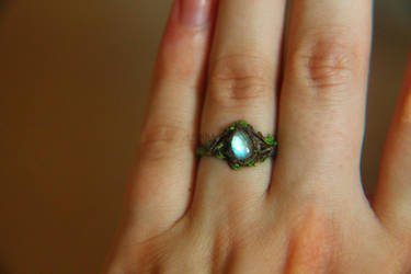 Rainbow moonstone polymer clay ring