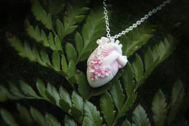 White polymer clay sakura anatomical heart
