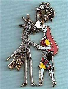 Jack and Sally - Mistletoe pin by hollyberryx