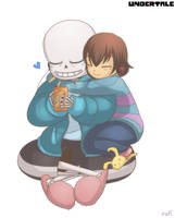 Undertale - Sans and Frisk Chilling by rufiangel