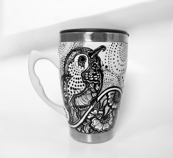 Hummingbird Henna Black and White Mug by cydienne