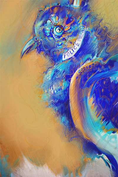 Blue Police Box Bird painting