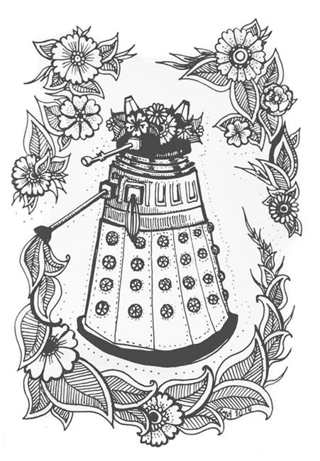Dalek in a Flower Crown by cydienne