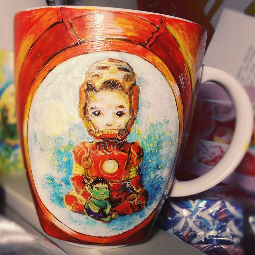Iron Man and Hulk, the cutesy mug by cydienne