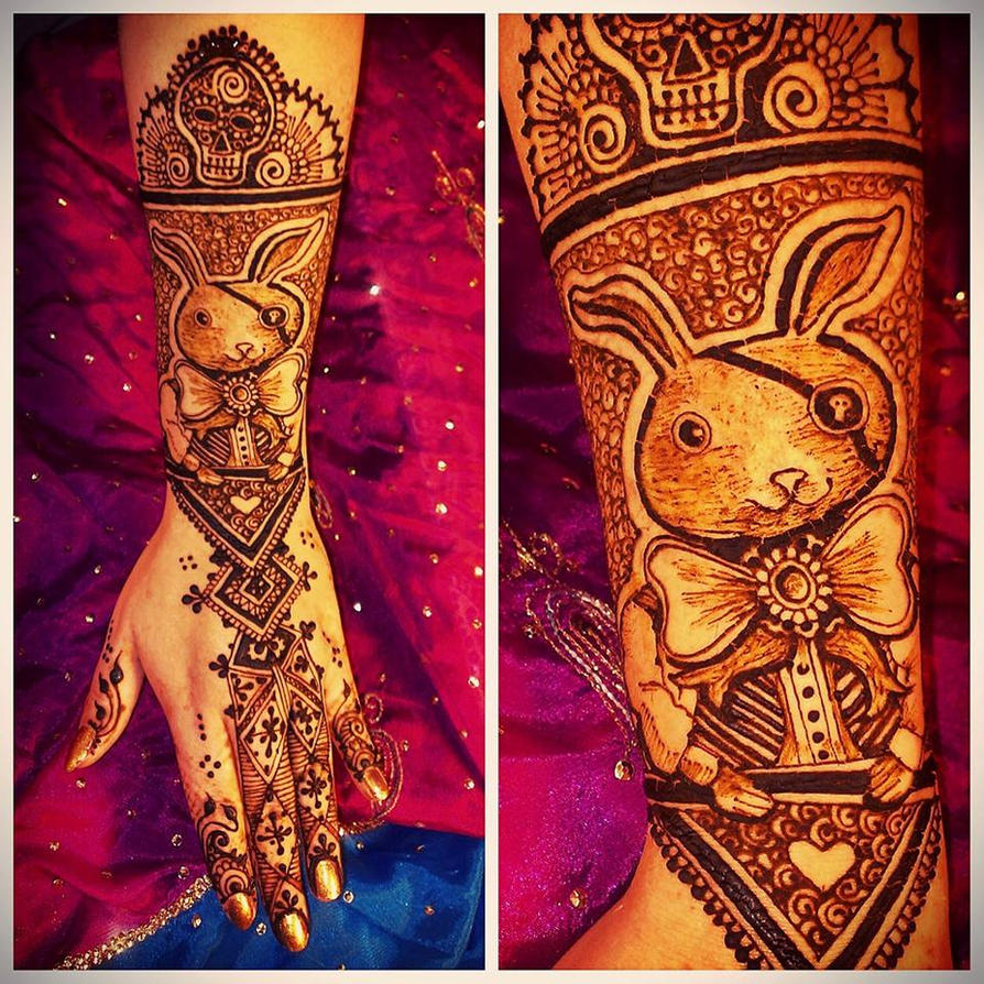 Pirate bunny henna for Haloween by cydienne