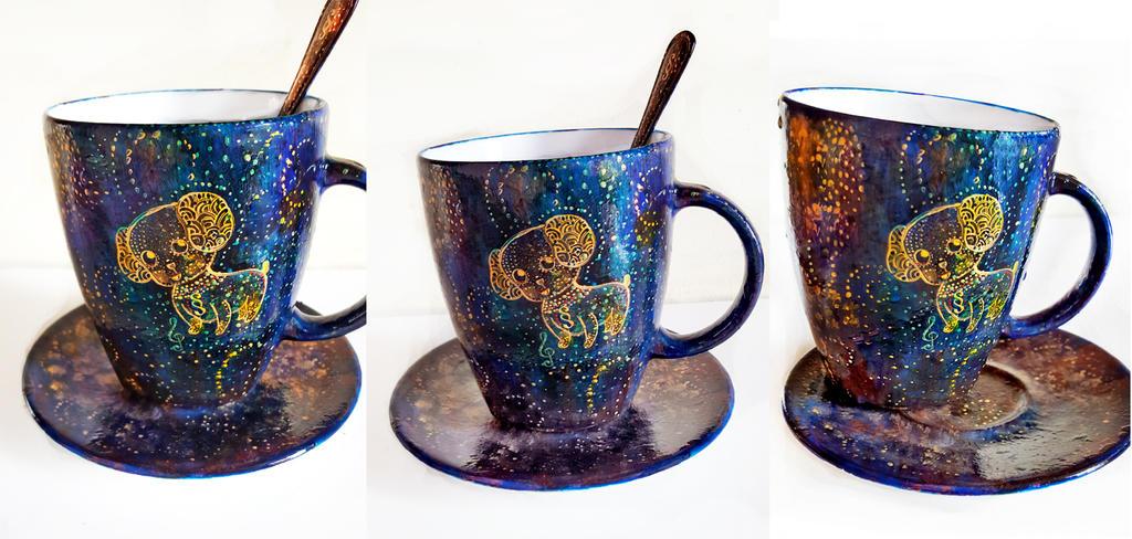Blue Star Dog Mug by cydienne