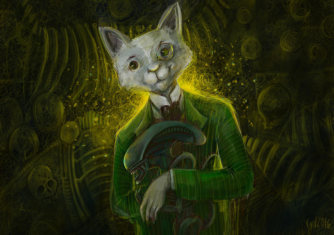 Mr Cat and his pet Alien by cydienne