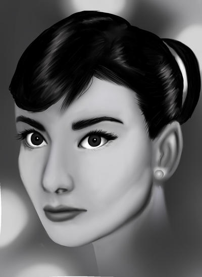 Audrey Hepburn Digital drawing by Ingerawsome