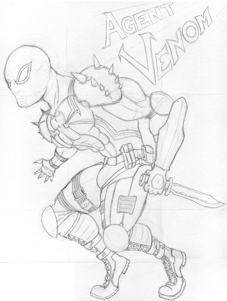 agent venom coloring pages | Agent Venom Pencil Drawings Sketch Coloring Page