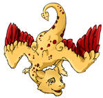 Dojo mascot leaning