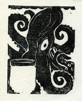 Octopus ex-libris by teriathanin