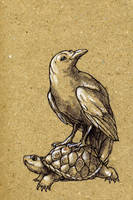 Crow and Turtle by teriathanin