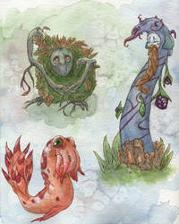Three creatures by teriathanin