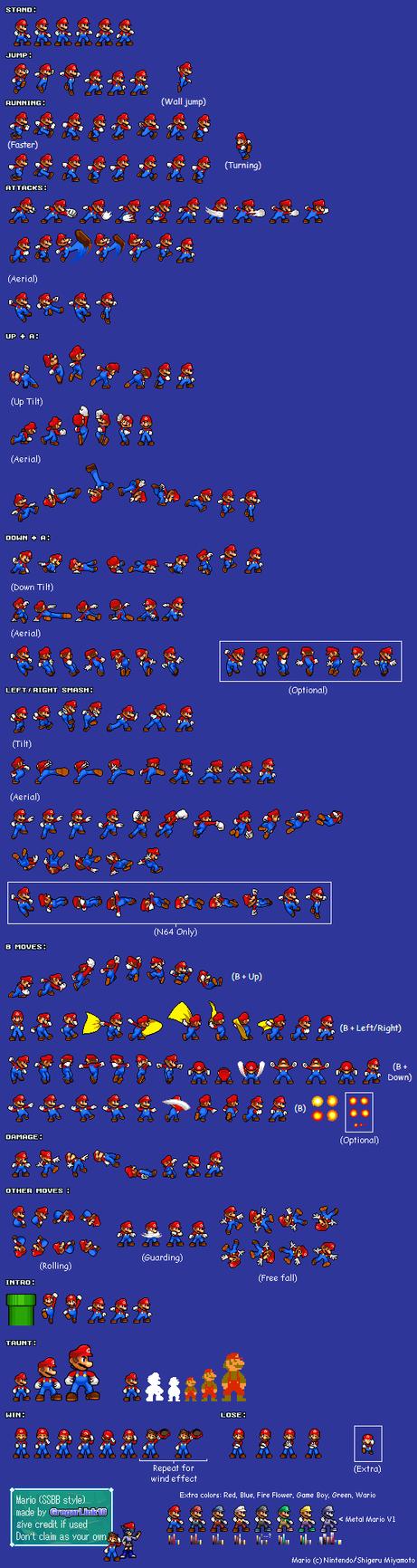 SSBB Mario Sprite sheet by Gregarlink10