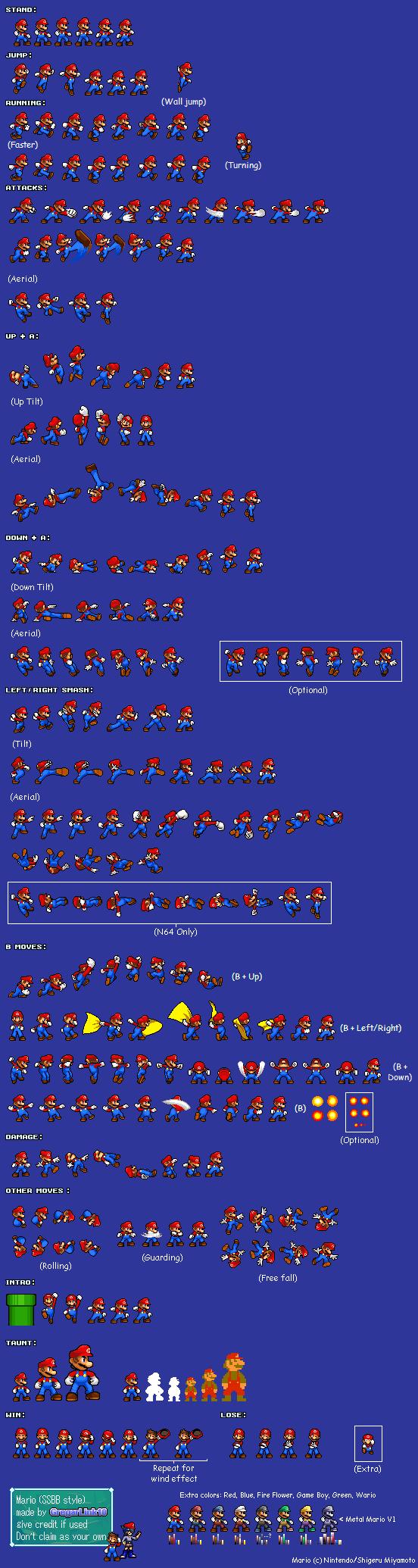 SSBB Mario Sprite sheet