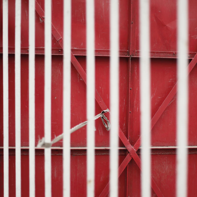 Red Iron gate and metal railing by CHAOKUNWANG