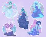 Steven Universe stickers, Blue gems.