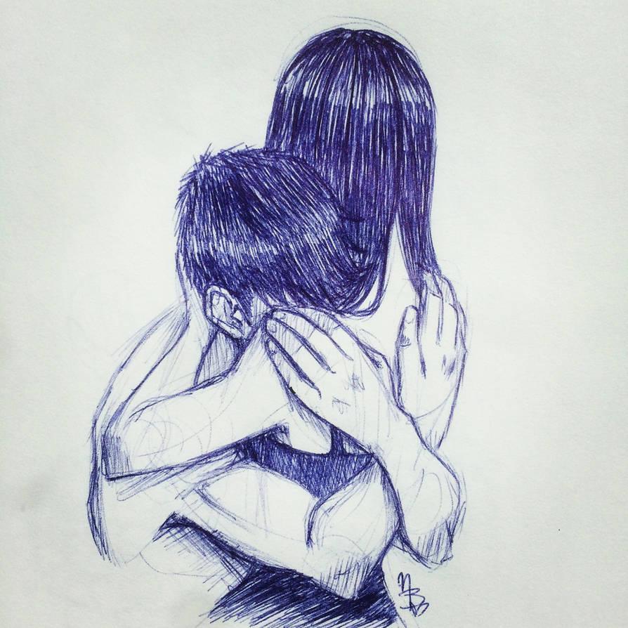 Pen sketch hug by truelovestory