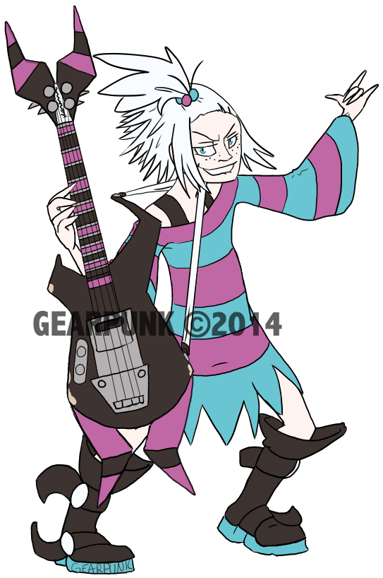 Roxie and her Guitar by Gearpunk
